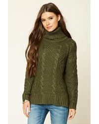 Forever 21 | Green Cable Knit Turtleneck Sweater | Lyst