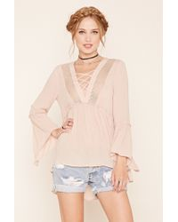 Forever 21 | Multicolor Crisscross-front Trapeze Top | Lyst