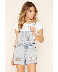 Forever 21 - Blue Distressed Overall Shorts - Lyst