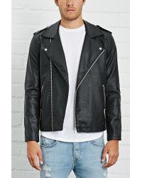 Forever 21 - Black Faux Leather Moto Jacket for Men - Lyst