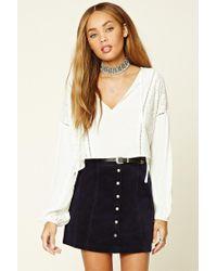 Forever 21   Blue Buttoned Corduroy Mini Skirt   Lyst