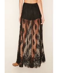 Forever 21 - Black Eyelash Lace Maxi Skirt - Lyst