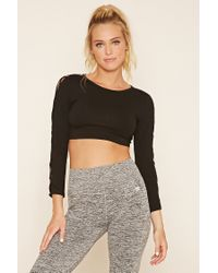 Forever 21 | Black Active Cutout Crop Top | Lyst