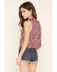 Forever 21 - Multicolor Neck-tie Floral Print Tank - Lyst