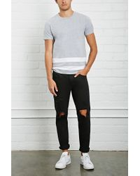 Forever 21 - Gray Contrast Striped Tee for Men - Lyst