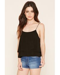 Forever 21   Black Lace-up Cropped Cami   Lyst
