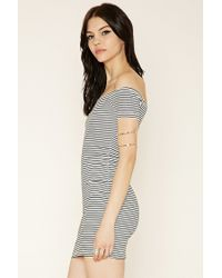 Forever 21 - Gray Striped Off-the-shoulder Dress - Lyst
