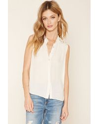 Forever 21 | Natural Contemporary Crochet-yoke Shirt | Lyst