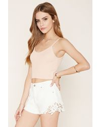 Forever 21 | White Crochet-hem Denim Shorts | Lyst