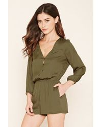 Forever 21 | Green Buttoned Satin Romper | Lyst