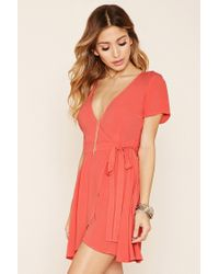 Forever 21 | Red Chiffon Self-tie Wrap Dress | Lyst
