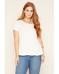 Forever 21 | White Plus Size Peplum Top | Lyst