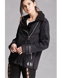 Forever 21 | Black Faux Suede Zip Moto Jacket | Lyst