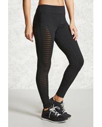 Forever 21   Black Active Striped Mesh Leggings   Lyst
