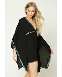 Forever 21 | Black Embroidered Dolman-sleeve Dress | Lyst