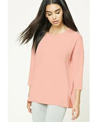 Forever 21 | Pink Slub Knit Dropped-sleeve Top | Lyst