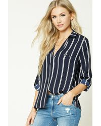 Forever 21 | Blue Pinstripe Collared Shirt | Lyst