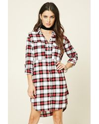Forever 21 | Red Plaid Flannel Shirt Dress | Lyst