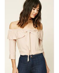 Forever 21 | Natural Contemporary Flounce Tie Shirt | Lyst