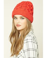 Forever 21 | Red Honeycomb Fold-over Beanie | Lyst