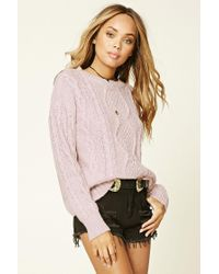 Forever 21 | Pink Cable Knit Sweater | Lyst