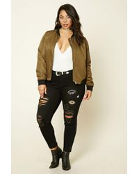 Forever 21 Black Plus Size Mid-rise Patch Jeans