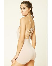 Forever 21 - Natural Seamless Ribbed Knit Bodysuit - Lyst