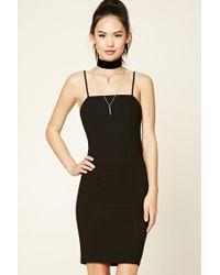 Forever 21 | Black Slub Knit Slip Dress | Lyst