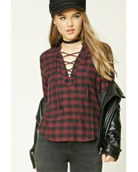 Forever 21 | Black Buffalo Plaid Lace-up Shirt | Lyst