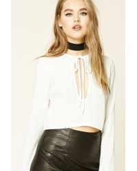 Forever 21 | White Self-tie Plunging Neck Top | Lyst