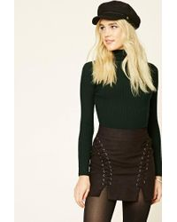 Forever 21 | Green Ribbed Knit Turtleneck Top | Lyst