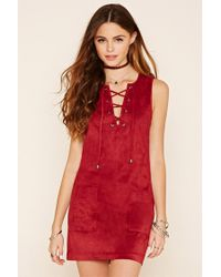Forever 21 | Red Faux Suede Lace-up Dress | Lyst