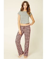 Forever 21 | Black Cotton-blend Plaid Pyjama Pants | Lyst