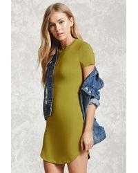 Forever 21 | Green Curved Hem T-shirt Dress | Lyst