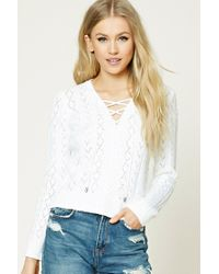 Forever 21 | White Lace-up Cable Knit Sweater | Lyst