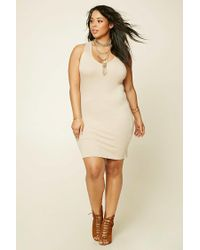 Forever 21 | Natural Plus Size Ribbed Tank Dress | Lyst
