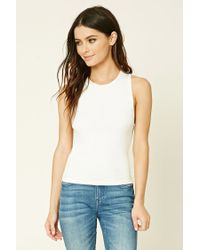 Forever 21 | White Ribbed Knit Tank | Lyst