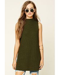 Forever 21 | Green Ribbed Knit Sweater Tunic | Lyst