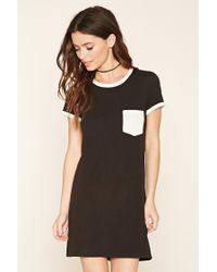 Forever 21 | Black Pocket Ringer T-shirt Dress | Lyst