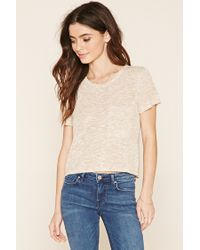 Forever 21 | Natural Marled Knit Pocket Tee | Lyst