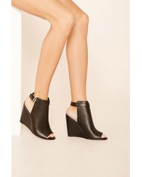 Forever 21 | Black Faux Leather Wedges | Lyst