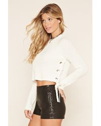Forever 21 - Multicolor Lace-up Cropped Sweater - Lyst