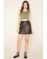 Forever 21 - Black Contemporary Faux Leather Skirt - Lyst