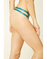 Forever 21 - Blue Strappy Lace Thong - Lyst