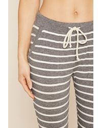 Forever 21 | Gray Vacay Graphic Stripe Pj Set | Lyst