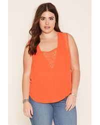Forever 21 | Orange Plus Size Lace-paneled Top | Lyst