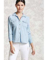 Forever 21 | Blue Chambray Pocket Shirt | Lyst