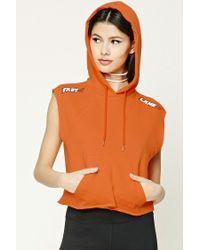Forever 21 | Orange Fast Lane Graphic Sleeveless Hoodie | Lyst