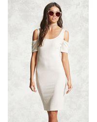 Forever 21 | White Ribbed Open-shoulder Dress | Lyst
