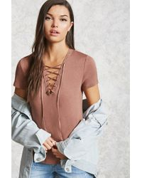 Forever 21 | Brown Lace-up Grommet Tee | Lyst